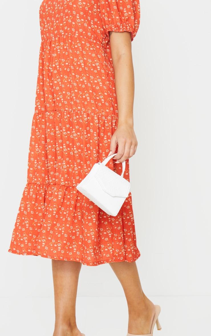 Red Ditsy Floral Print Puff Sleeve Tiered Hem Midi Smock Dress 4