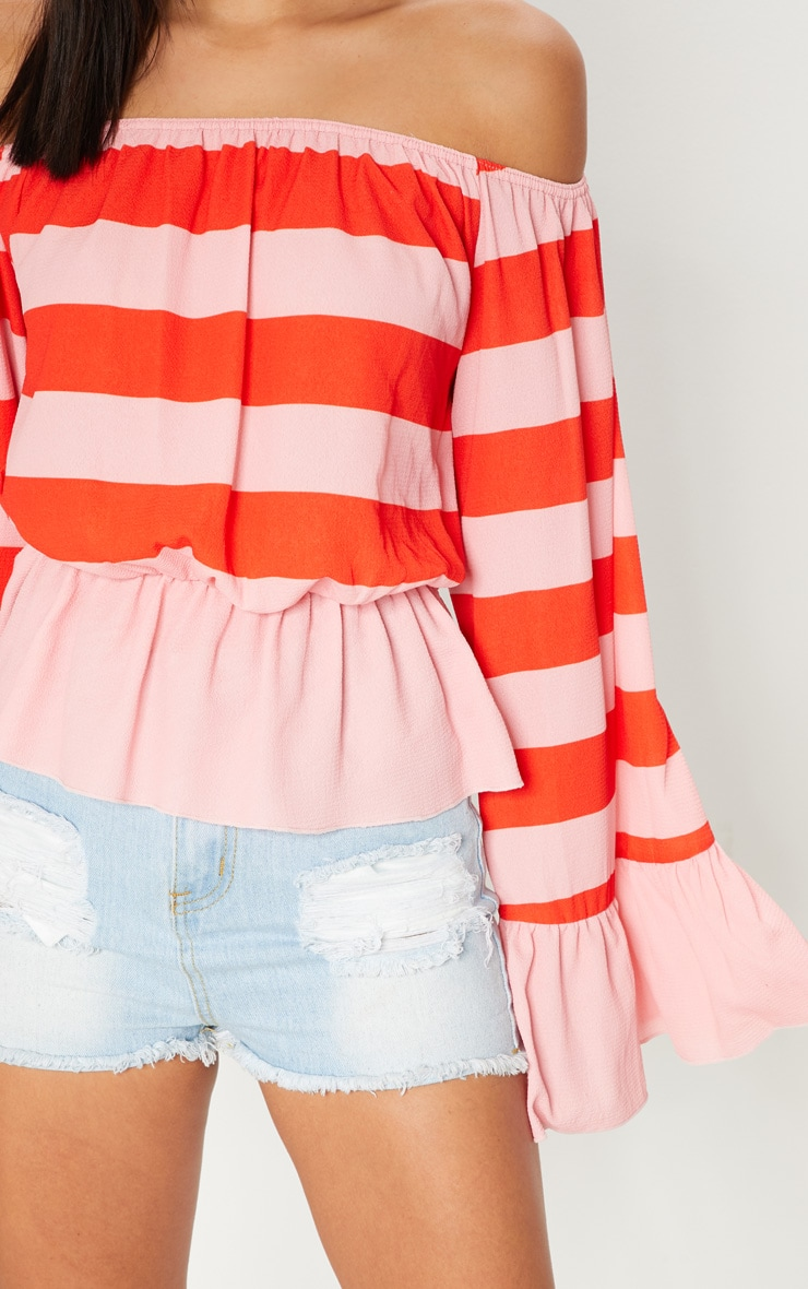 Pink Stripe Flare Bardot Sleeve Top 5