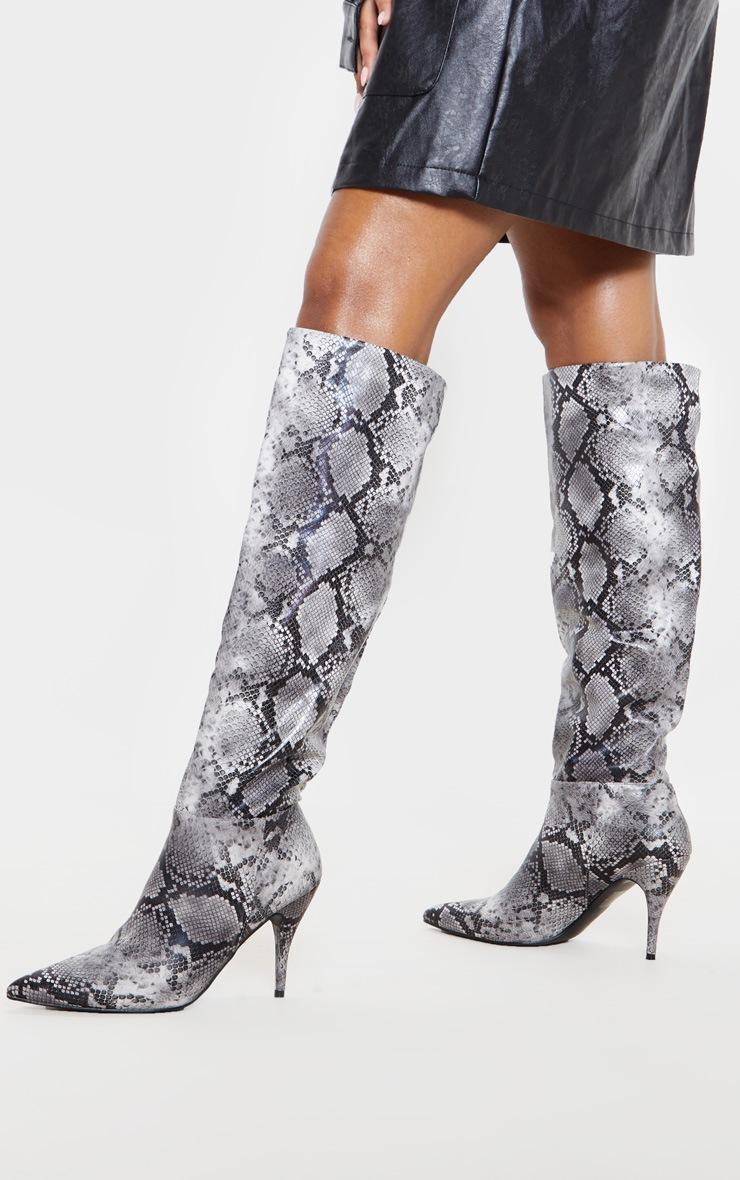Snake Mid Heel Knee Boot  2