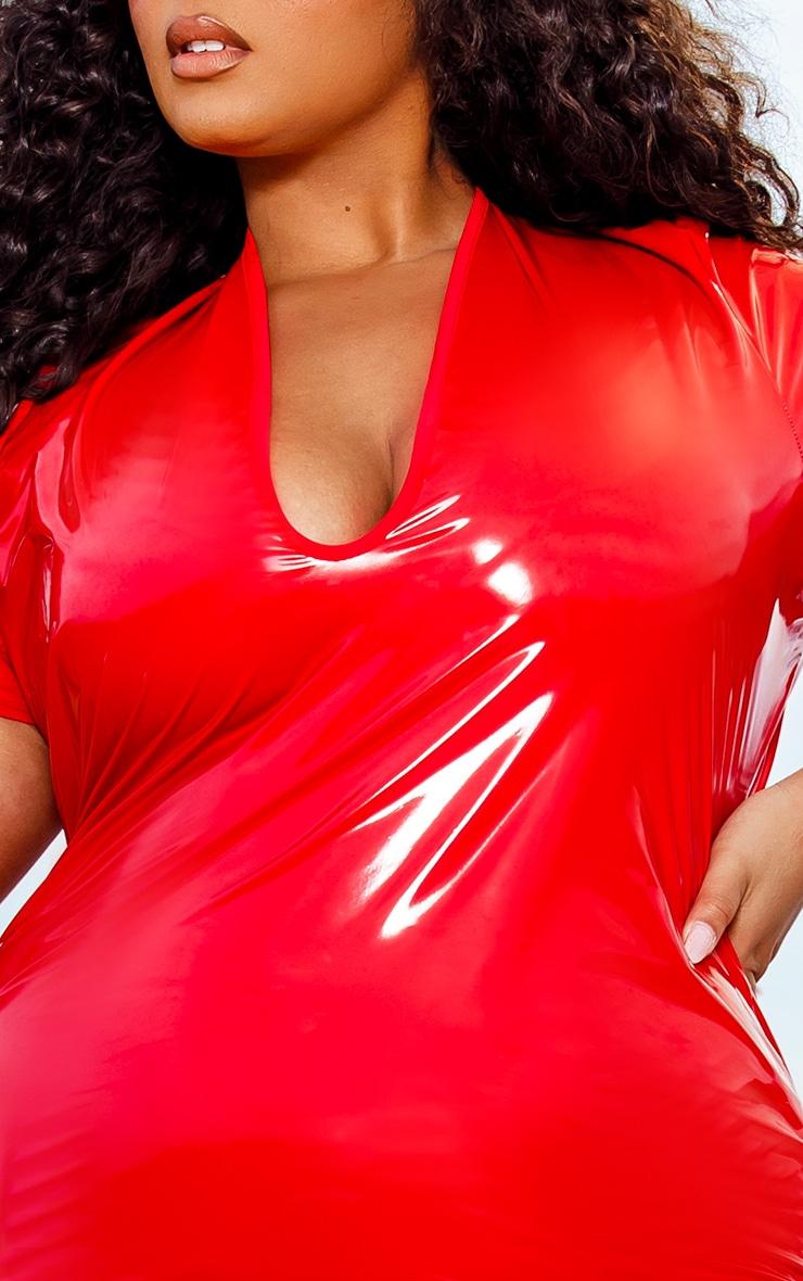 Plus Red Vinyl Plunge Front Bodycon Dress 4
