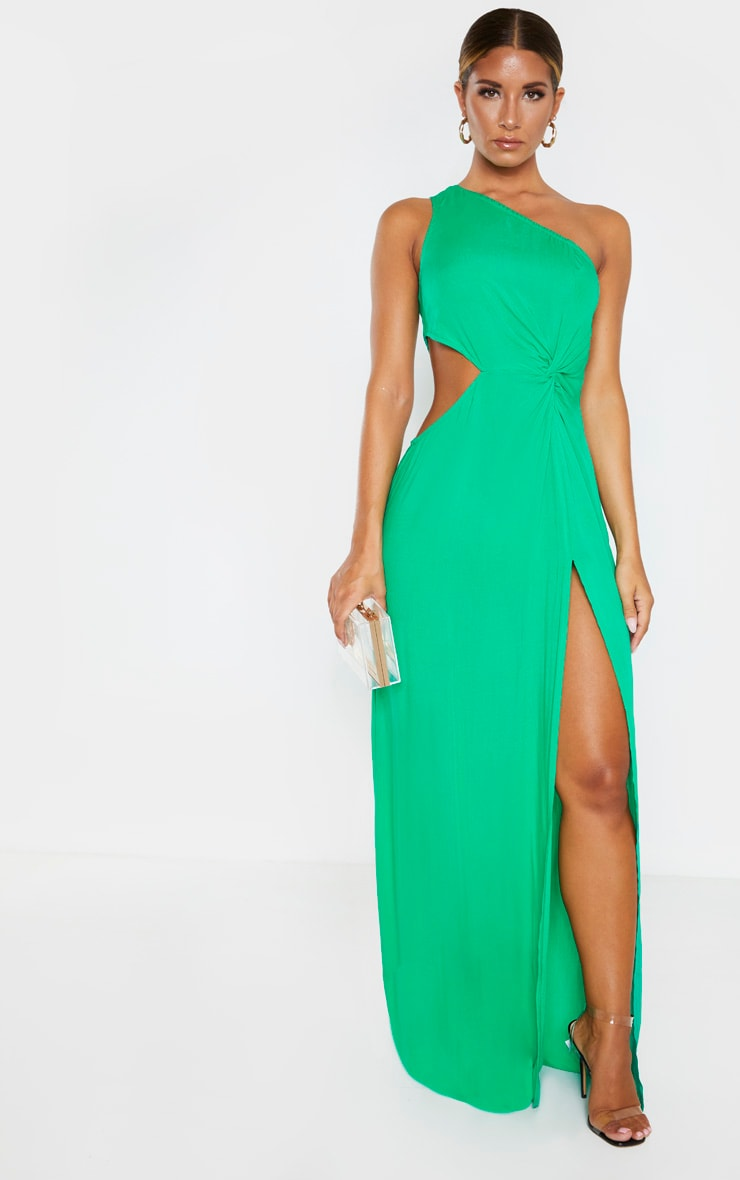 Green One Shoulder Cut Out Knot Detail Split Leg Maxi Dress 1