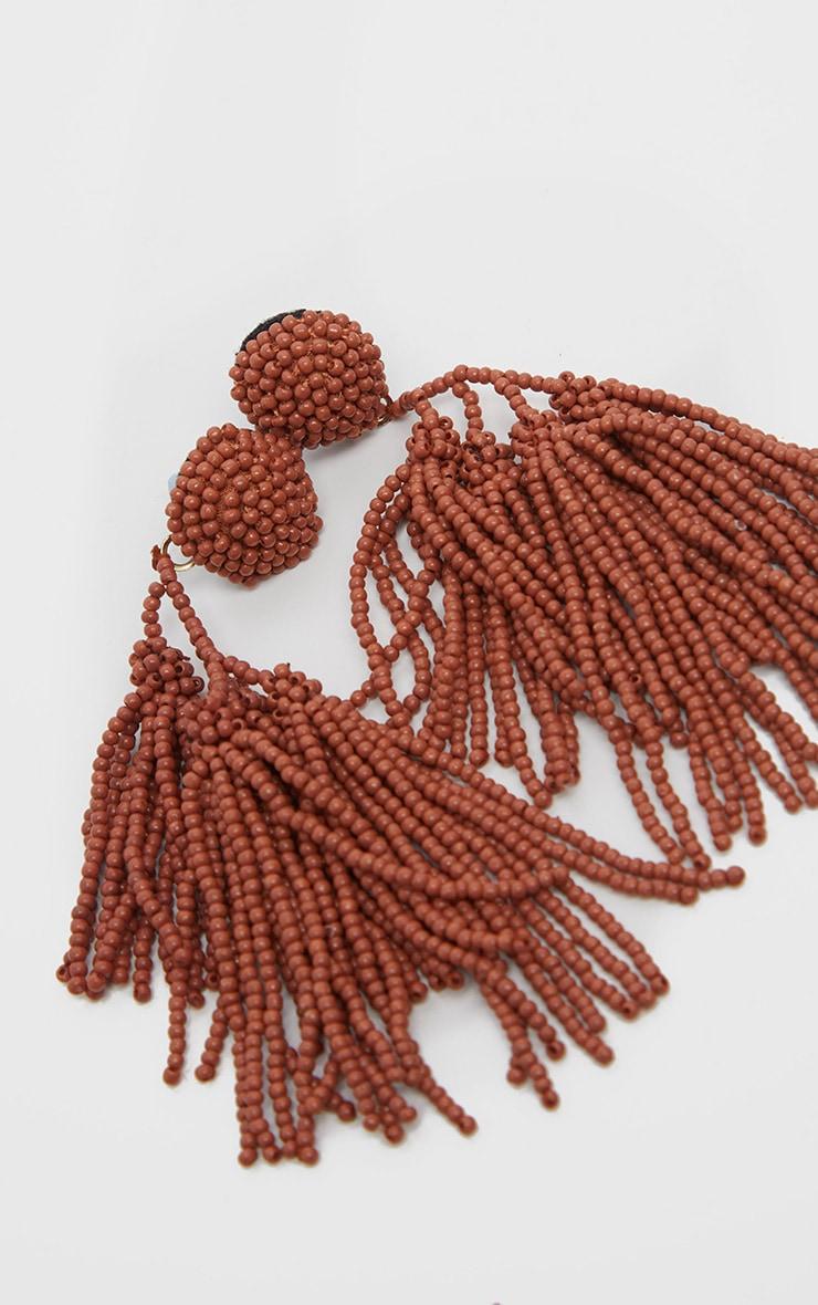 Orange Irregular Beaded Tassel Earrings 3