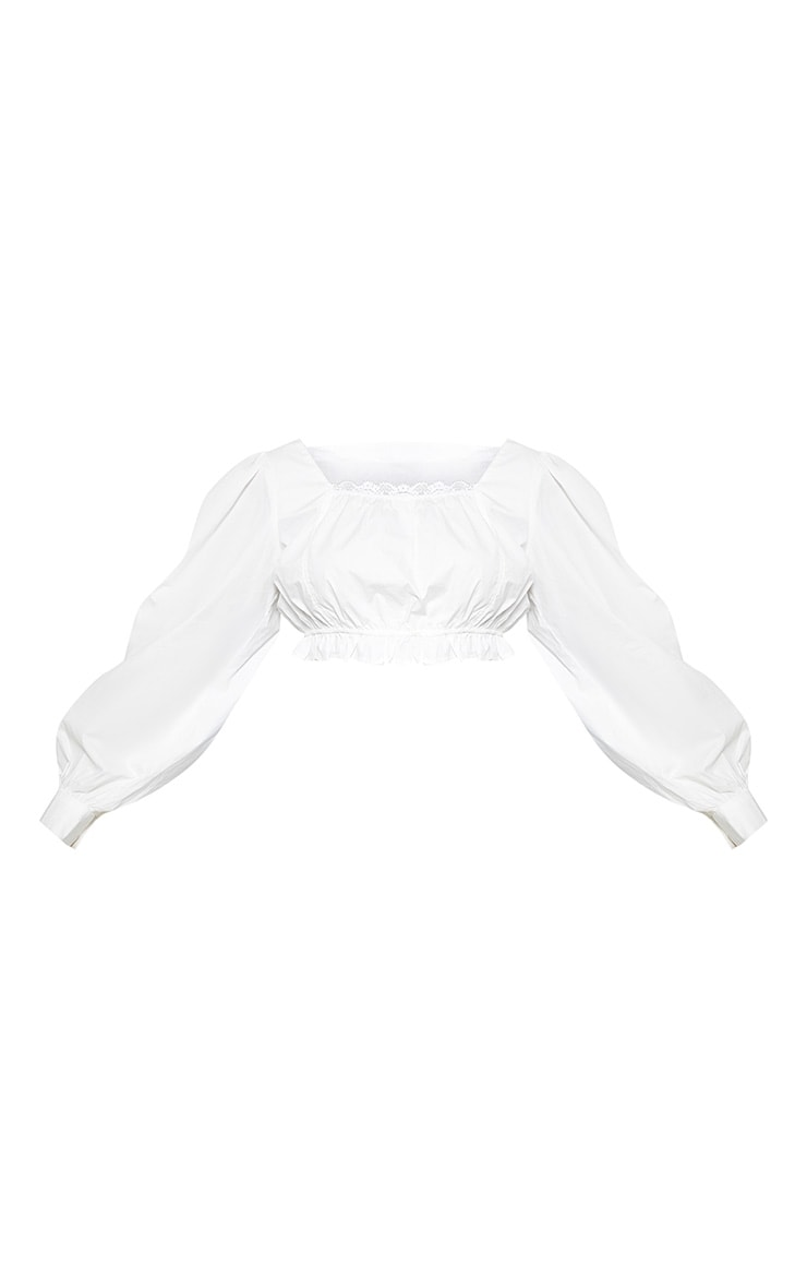 Plus White Cheesecloth Puff Sleeve Crop Top 3