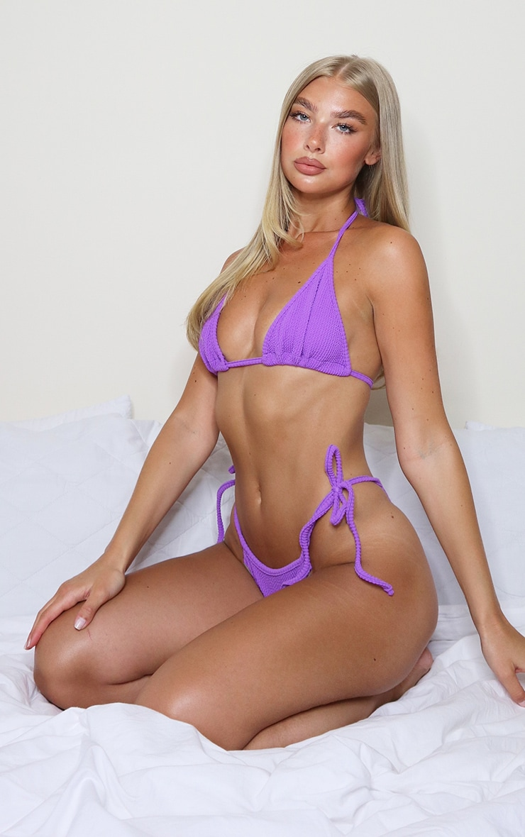 Purple Crinkle Triangle Bikini Top 3