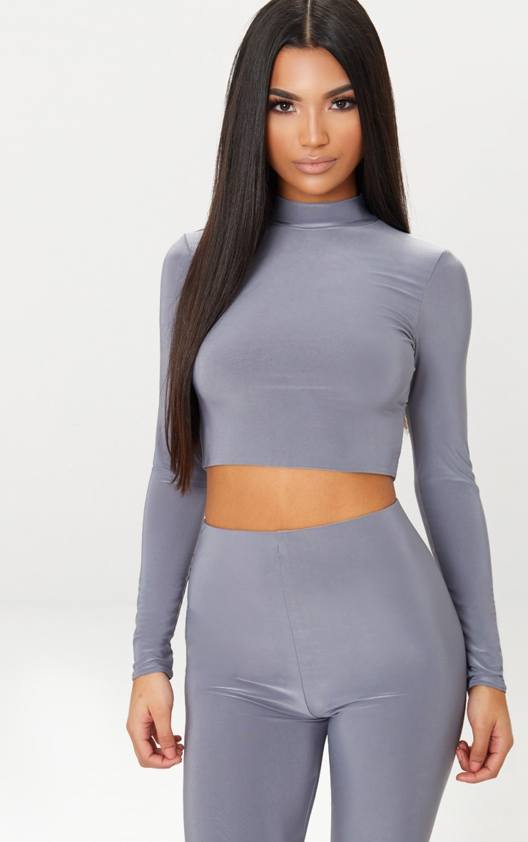 Charcoal Grey Slinky High Neck Long Sleeve Crop Top 1
