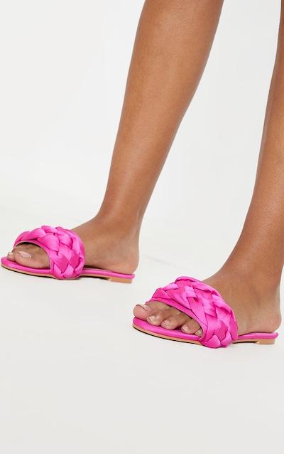 Fuchsia Plaited Mule Sandal