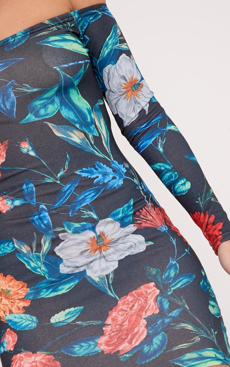 Meeshia Red Floral Bardot Longsleeve Bodycon Dress 4