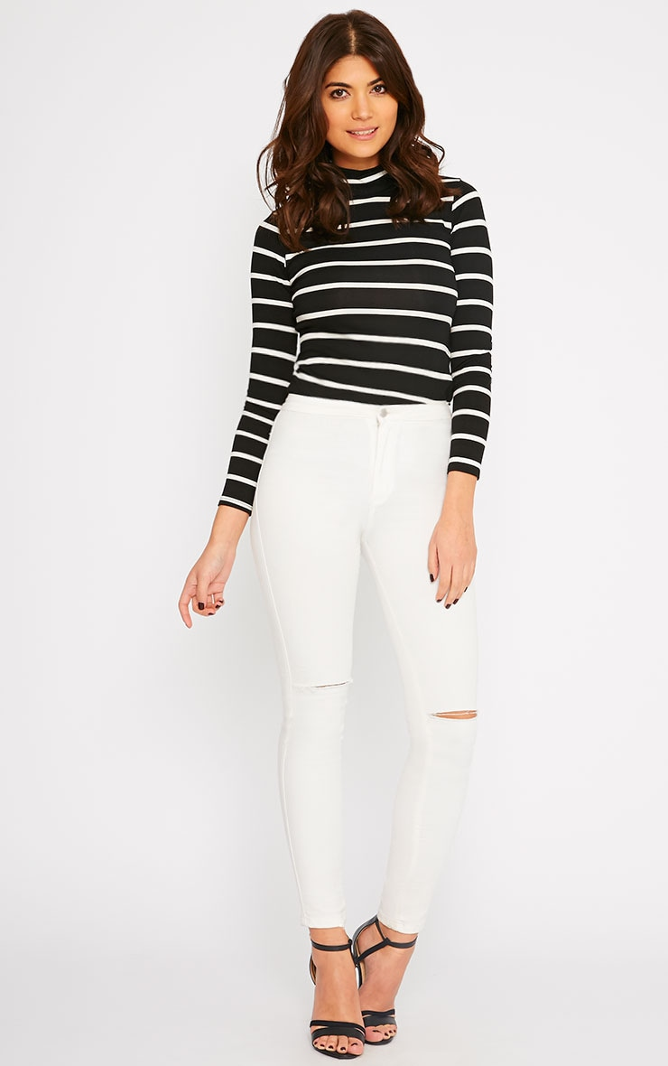 Dani Black Stripe Turtle Neck Top 5