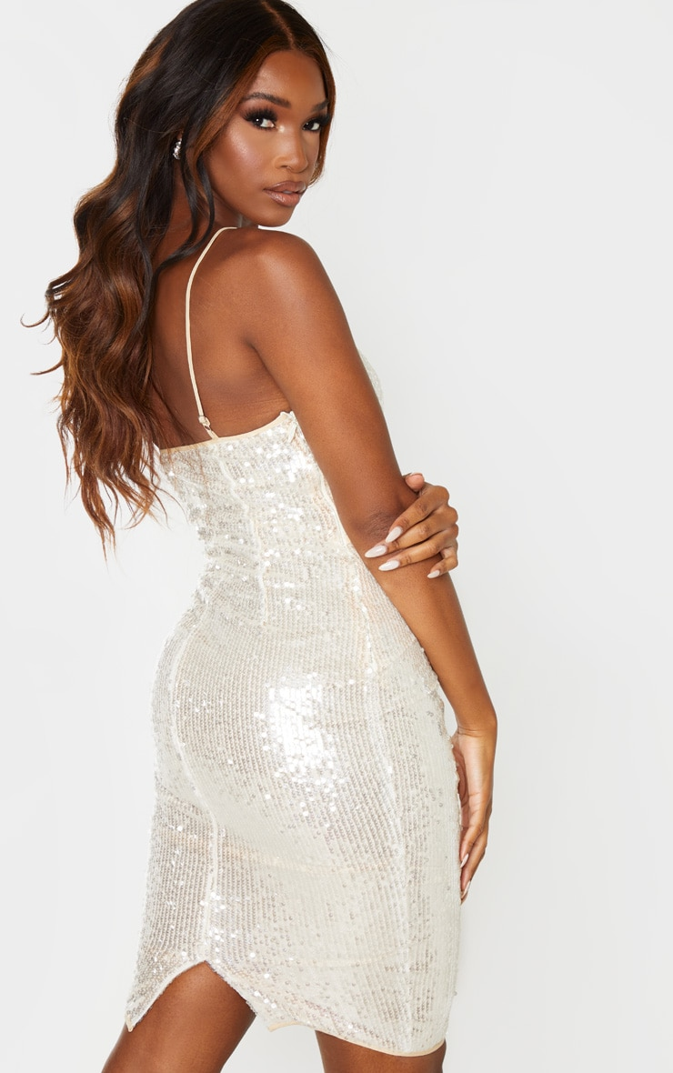 Nude Sequin Binding Detail Strappy Midi Dress 2