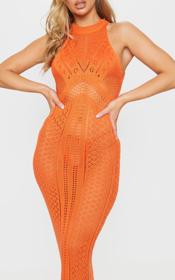 Orange Cut Out Detail Crochet Knit Midi Dress 4