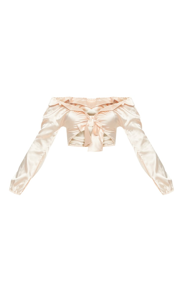 Nude Satin Tie Front Crop Blouse 3