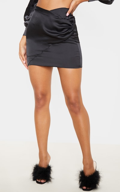 Black Ruched Wrap Over Mini Skirt