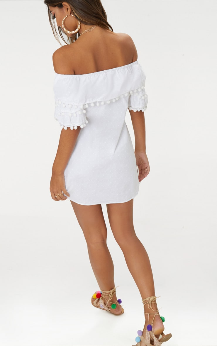 White Pom Pom Bardot Shift Dress 2
