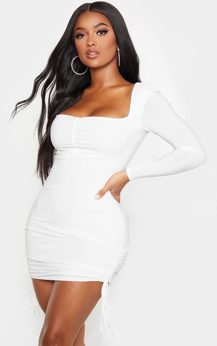 Shape Cream Ruched Detail Long Sleeve Bodycon Dress 1