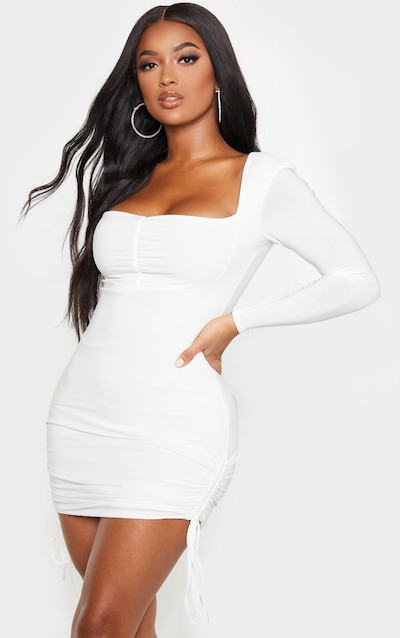Shape Cream Ruched Detail Long Sleeve Bodycon Dress