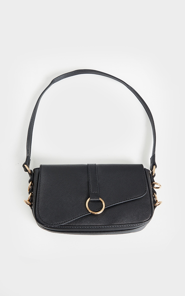 Black PU Ring Detail Saddle Shoulder Bag 1
