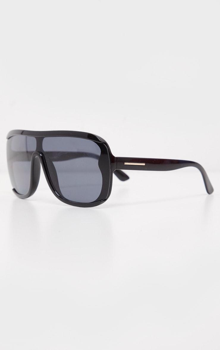 Black Flat Top Matt Resin Frameless Sunglasses 3