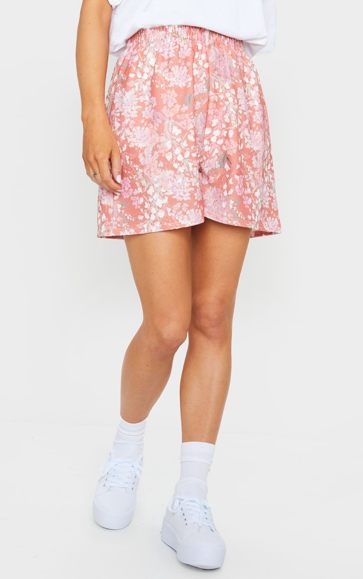 Pink Ditsy Floral Print Oversized Floaty Shorts 2