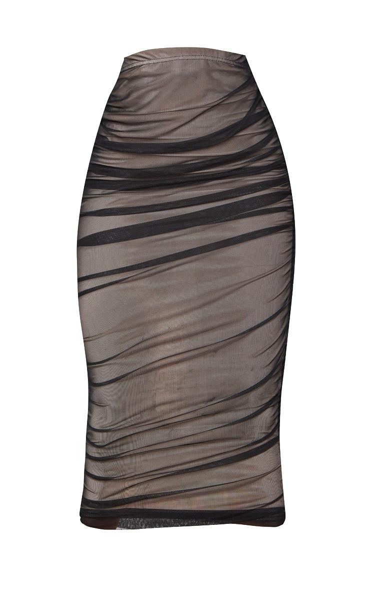 Black Ruched Mesh Midaxi Skirt 3