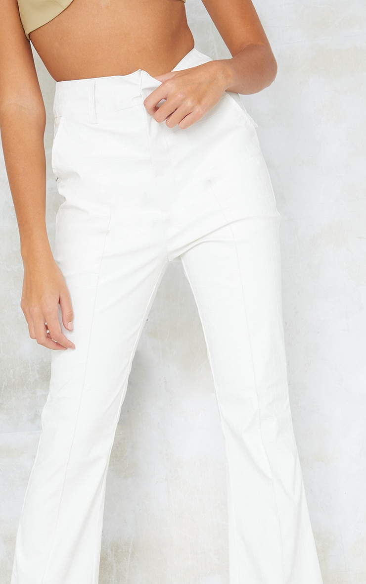 Tall Cream Faux Leather Croc Embossed Flare Trousers 4