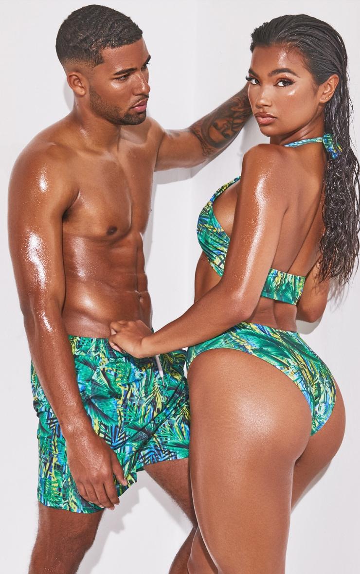 Green Tropical Cross Front Bikini Top 2