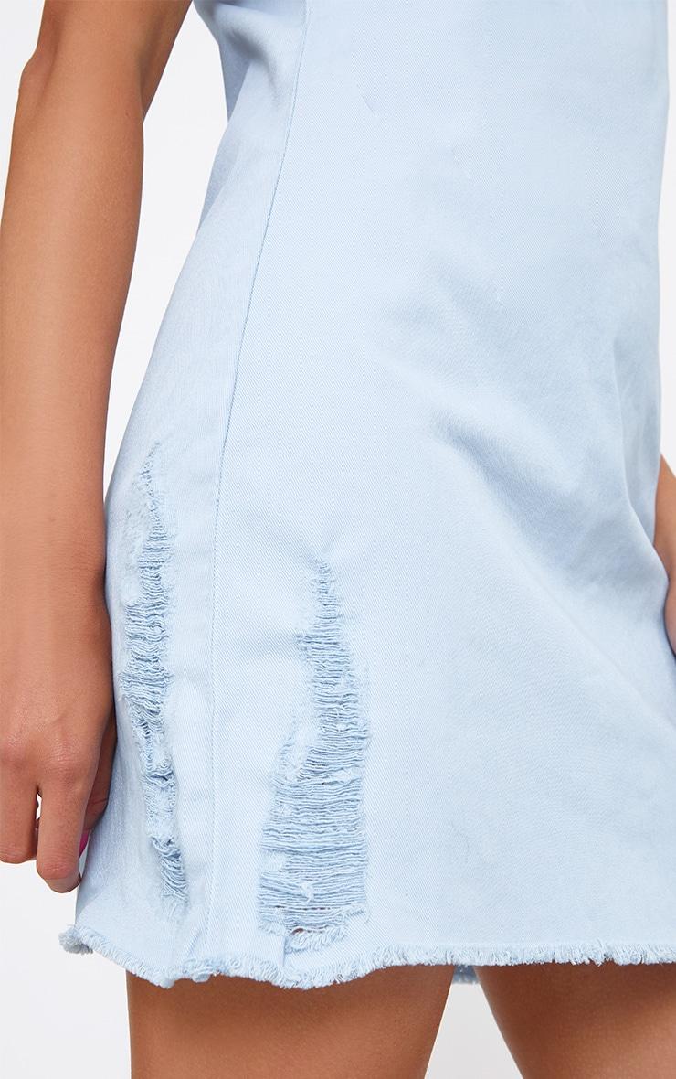 Light Wash Sleeveless Denim A Line Mini Dress 5