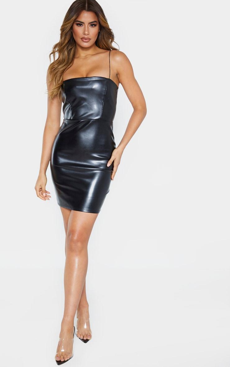 Tall Black Strappy Square Neck PU Mini Dress 3