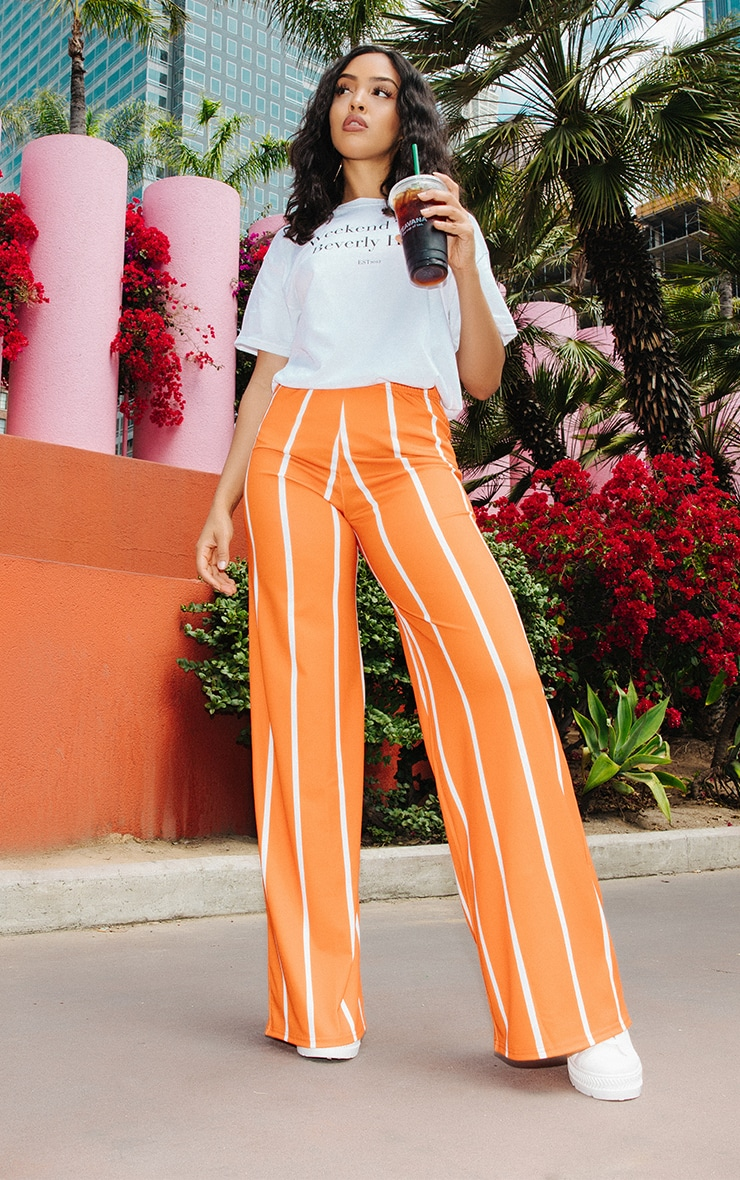 Orange Stripe Jersey Wide Leg Pants 2