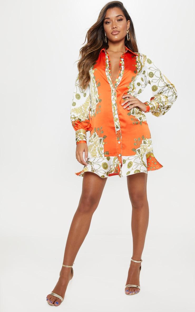 Orange Chain Print Frill Hem Shirt Dress 4