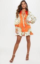 65a5d533071 Orange Chain Print Frill Hem Shirt Dress image 4