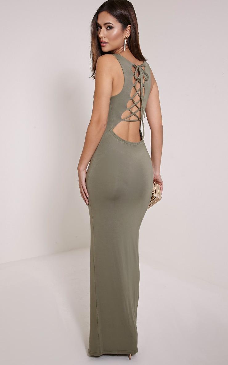 Jamaia Khaki Lace Up Back Maxi Dress 1