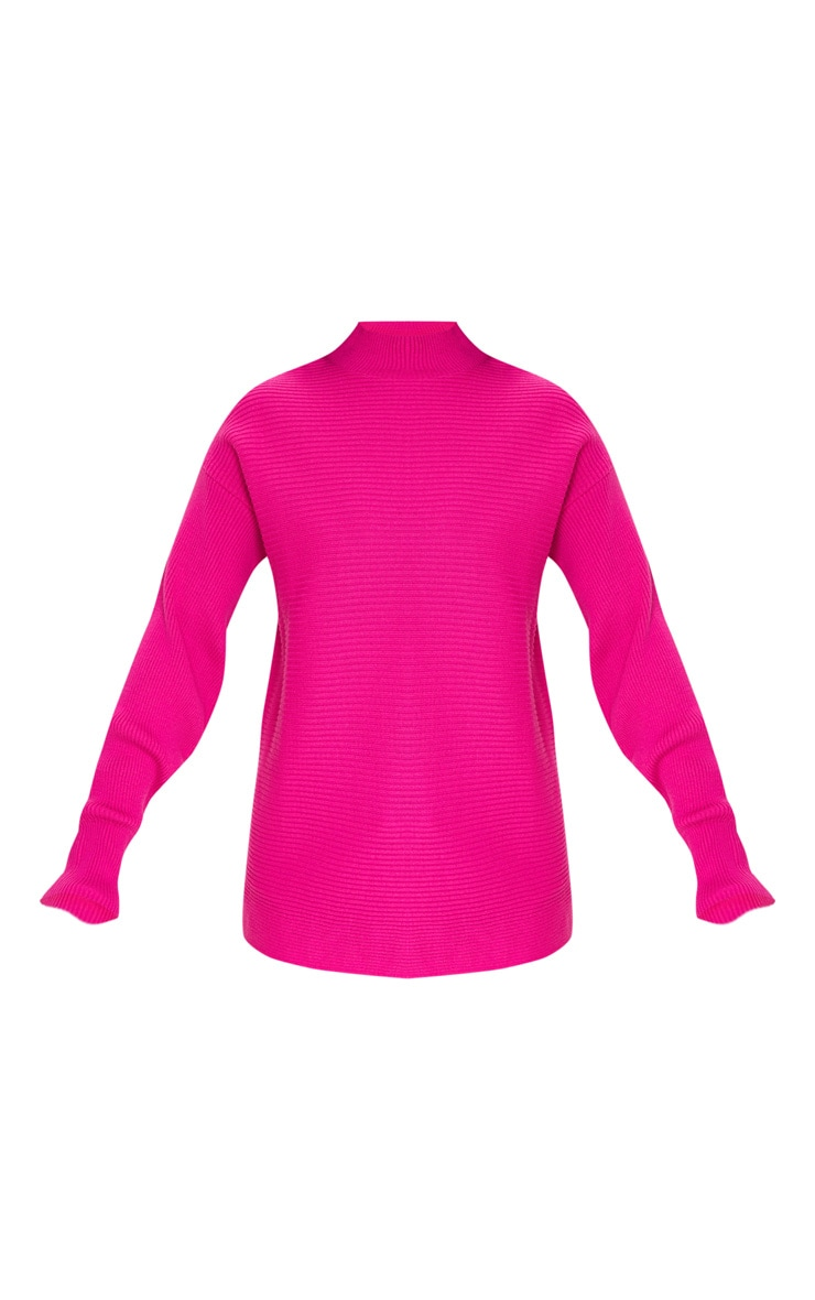 Hot Pink Full Sleeve Ribbed High Neck Jumper 3