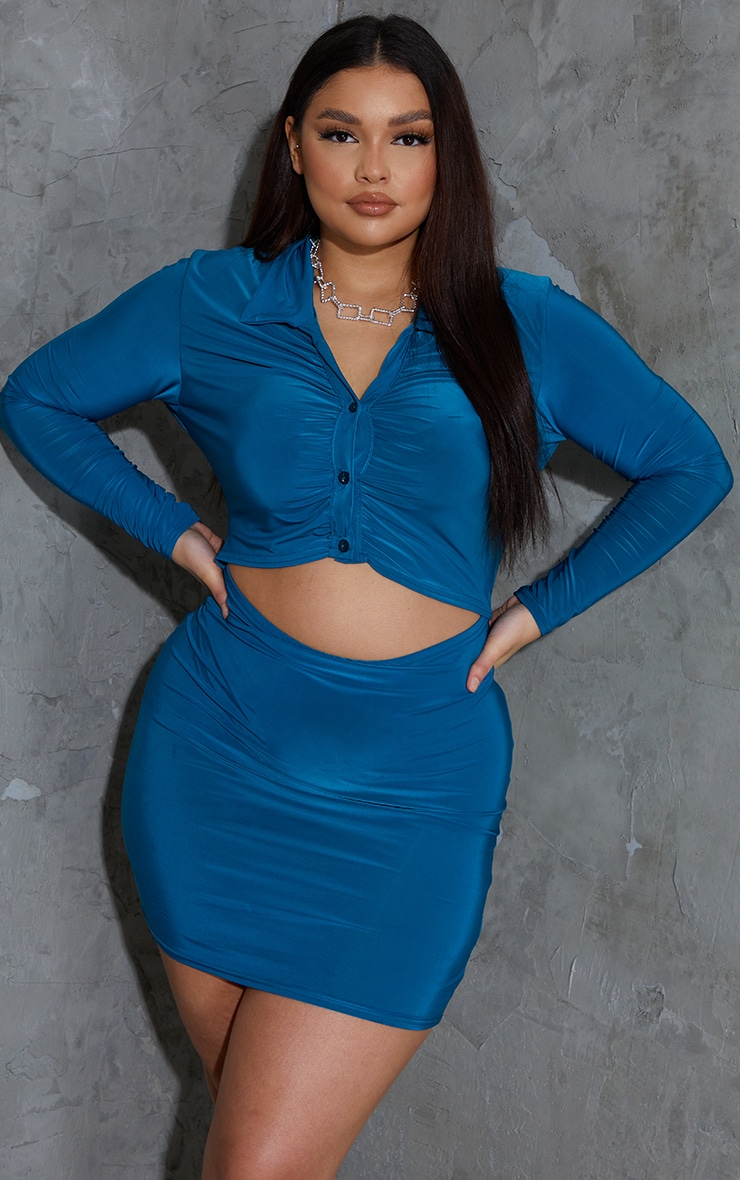 Plus Teal Collared Cut Out Long Sleeve Bodycon Dress 3