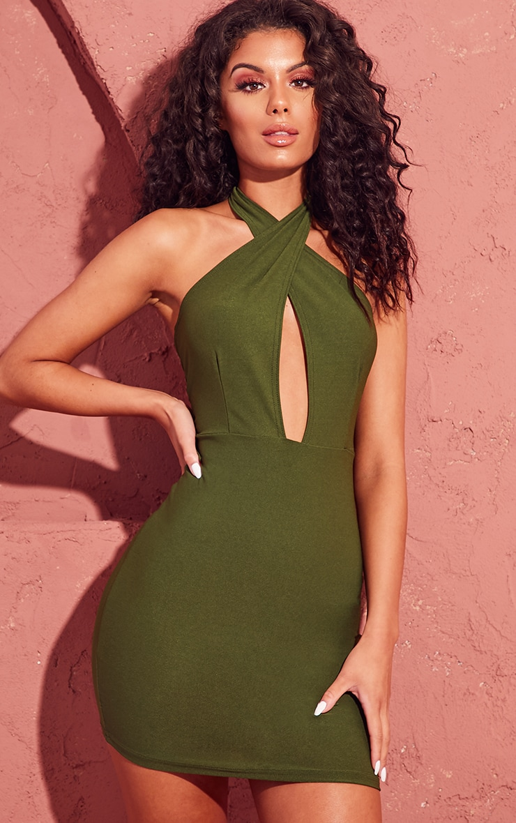Khaki Cross Neck Bodycon Dress 1