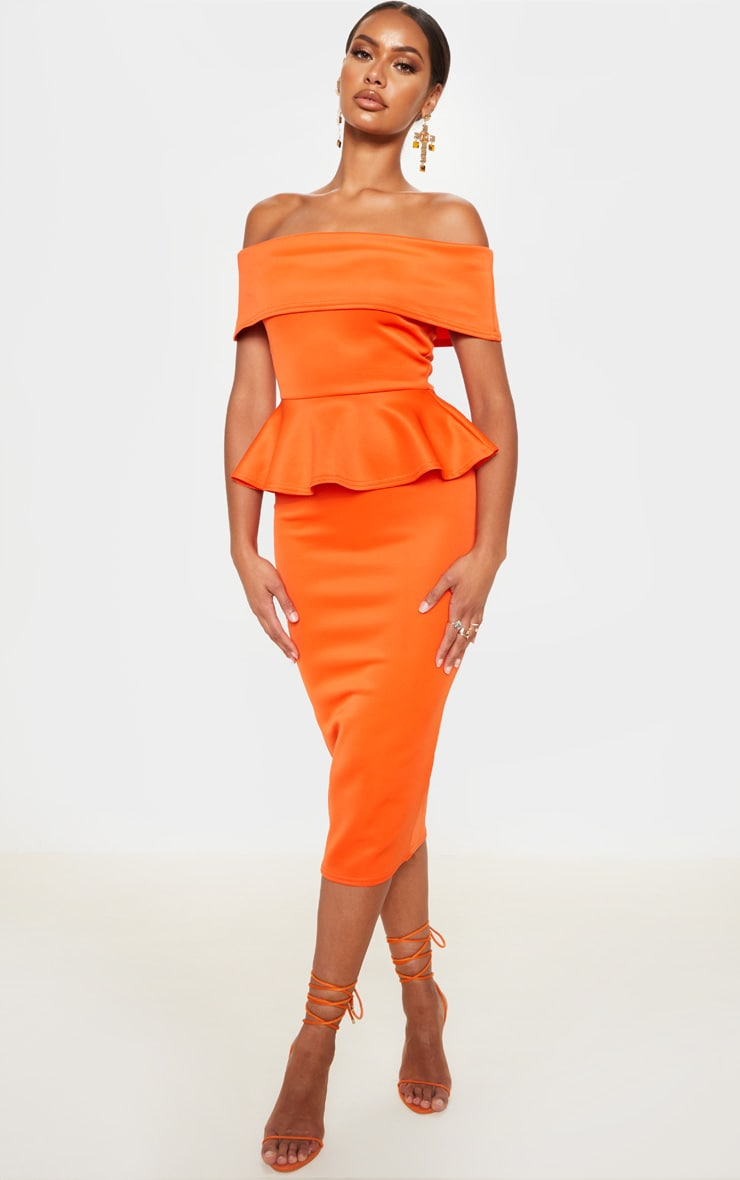 Bright Orange Bardot Peplum Detail Midi Dress 1