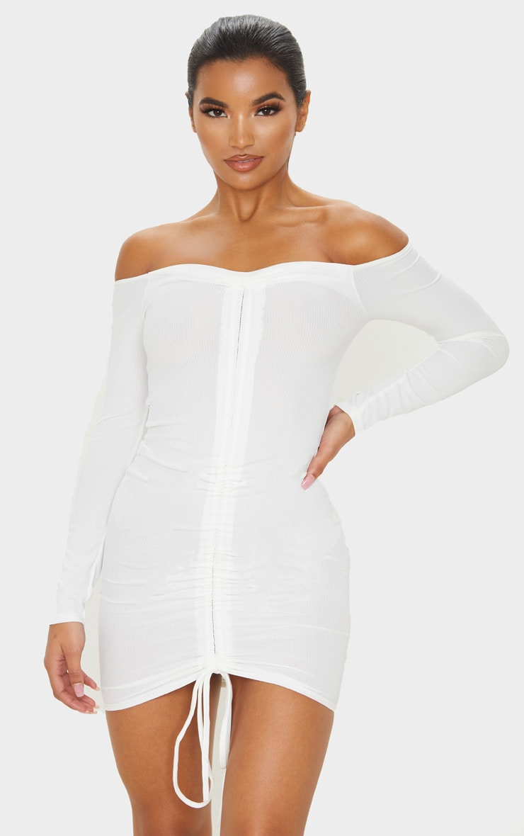White Ribbed Long Sleeve Ruched Bodycon Dress 1