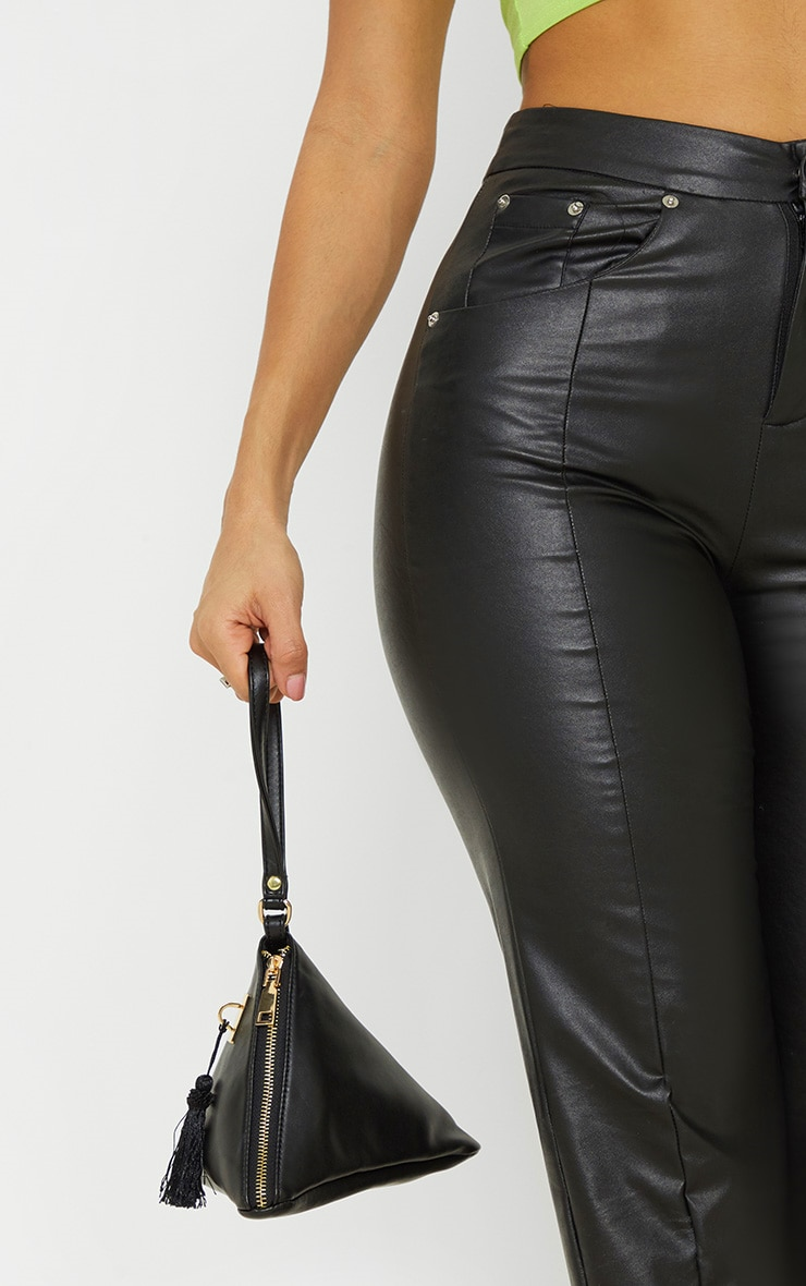 Black PU Triangle Mini Bag 1