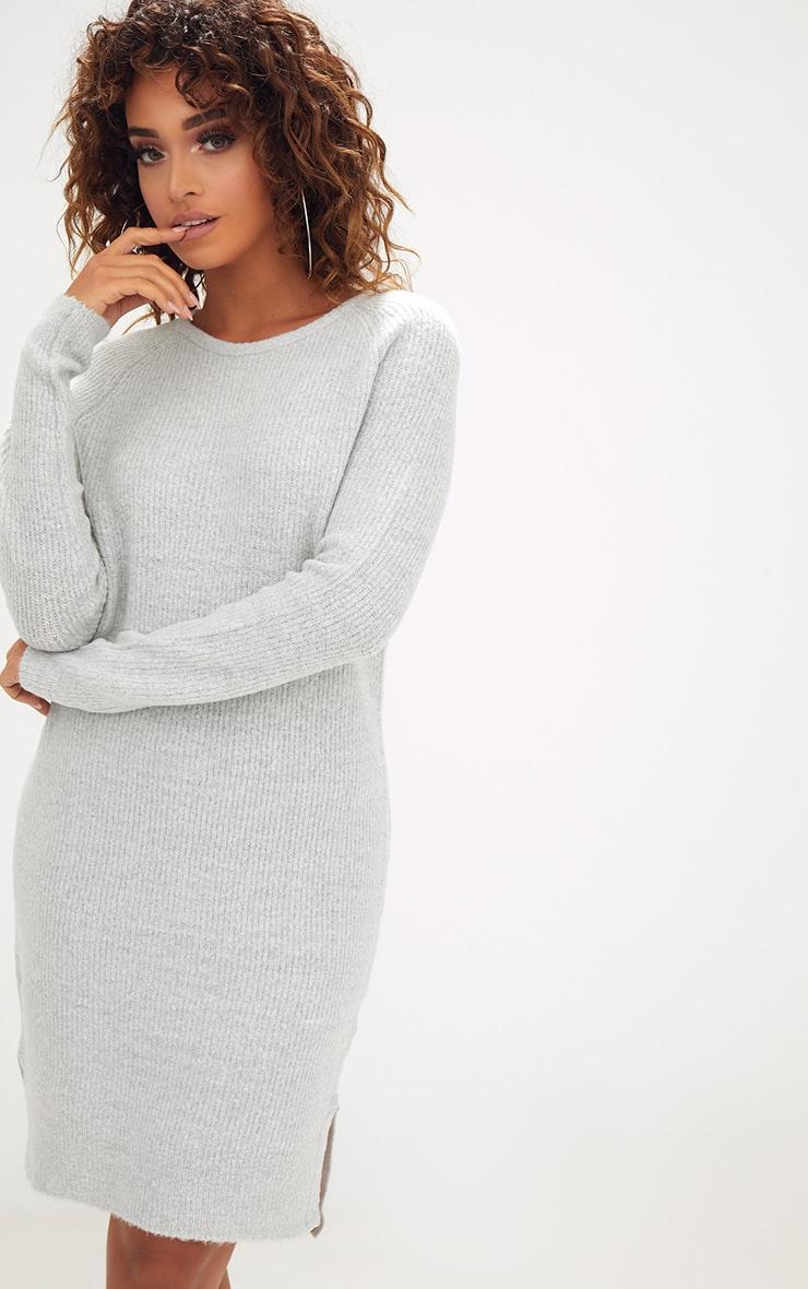 Grey Rib Jumper Dress 2