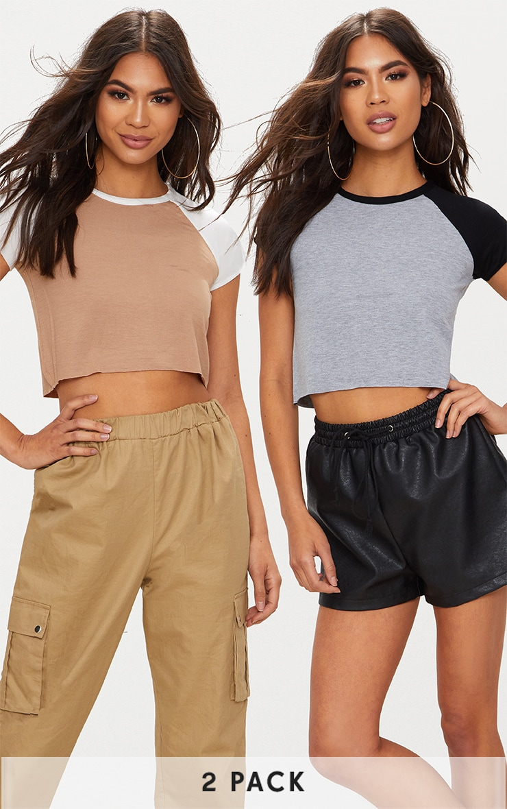Stone & Grey Contrast Raglan Sleeve Raw Hem Crop Top 2 Pack 1