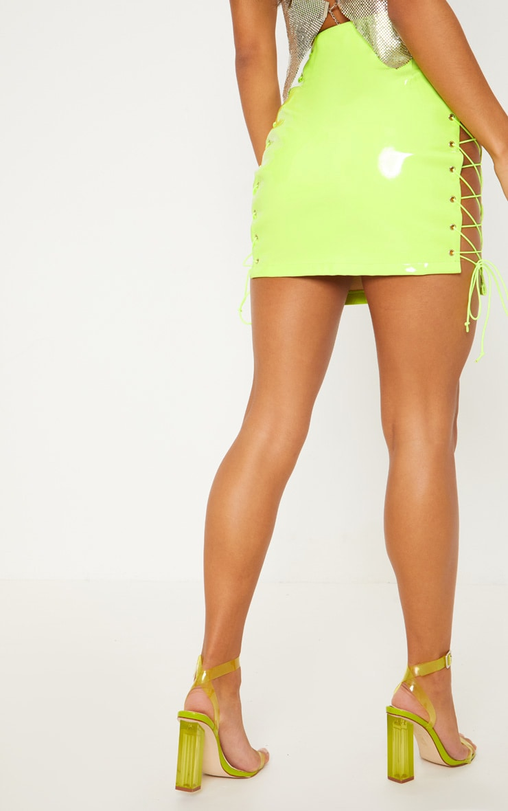 Neon Lime Vinyl Lace Up Side Mini Skirt 4