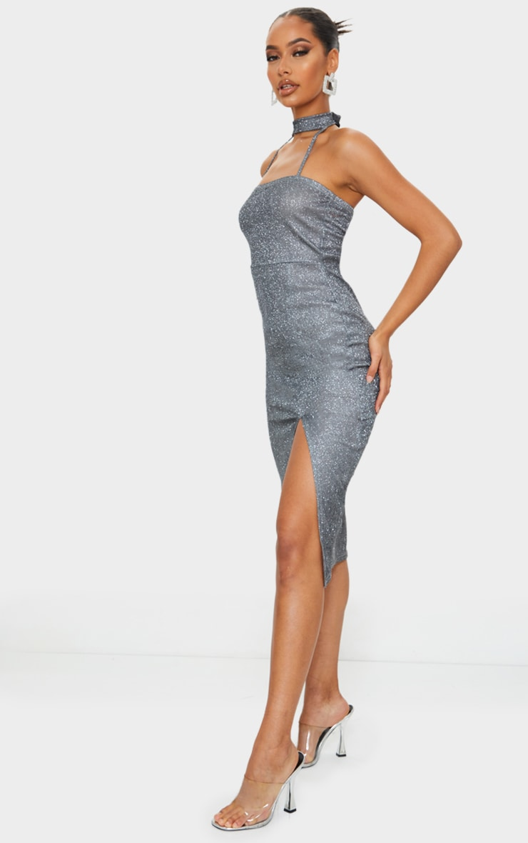 Silver Glitter High Neck Detail Split Midi Dress 3