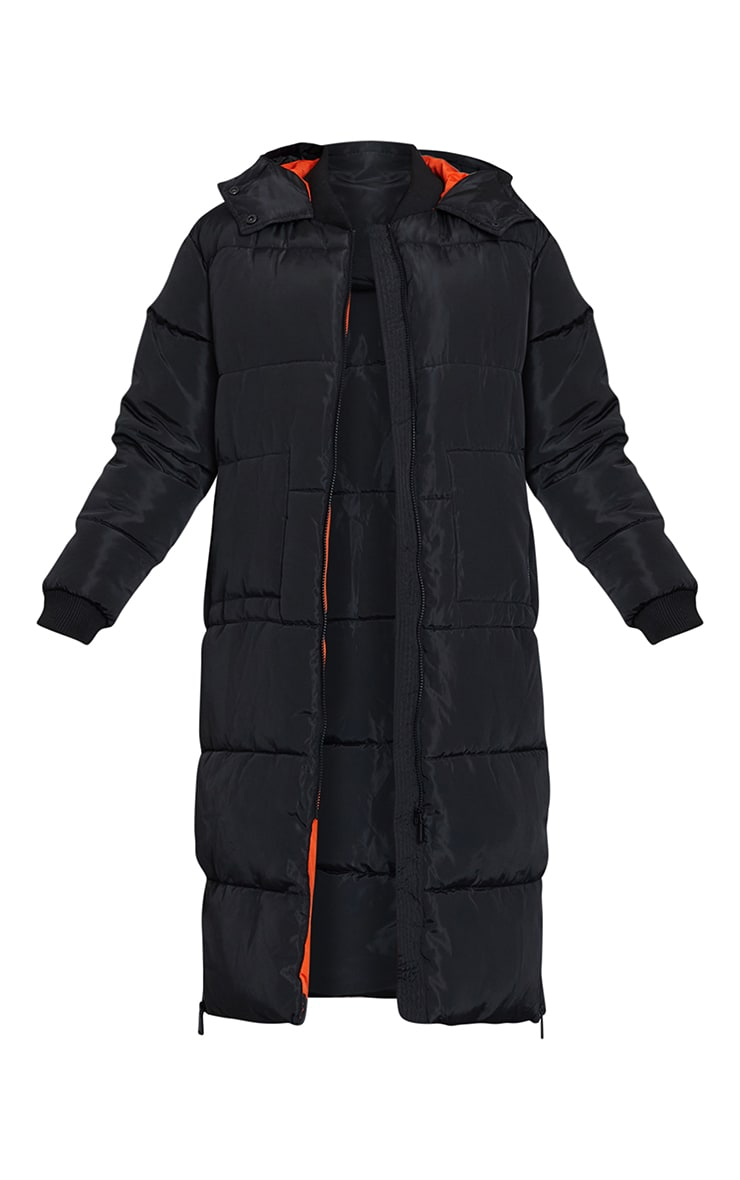 Black Maxi Contrast Hooded Puffer 5