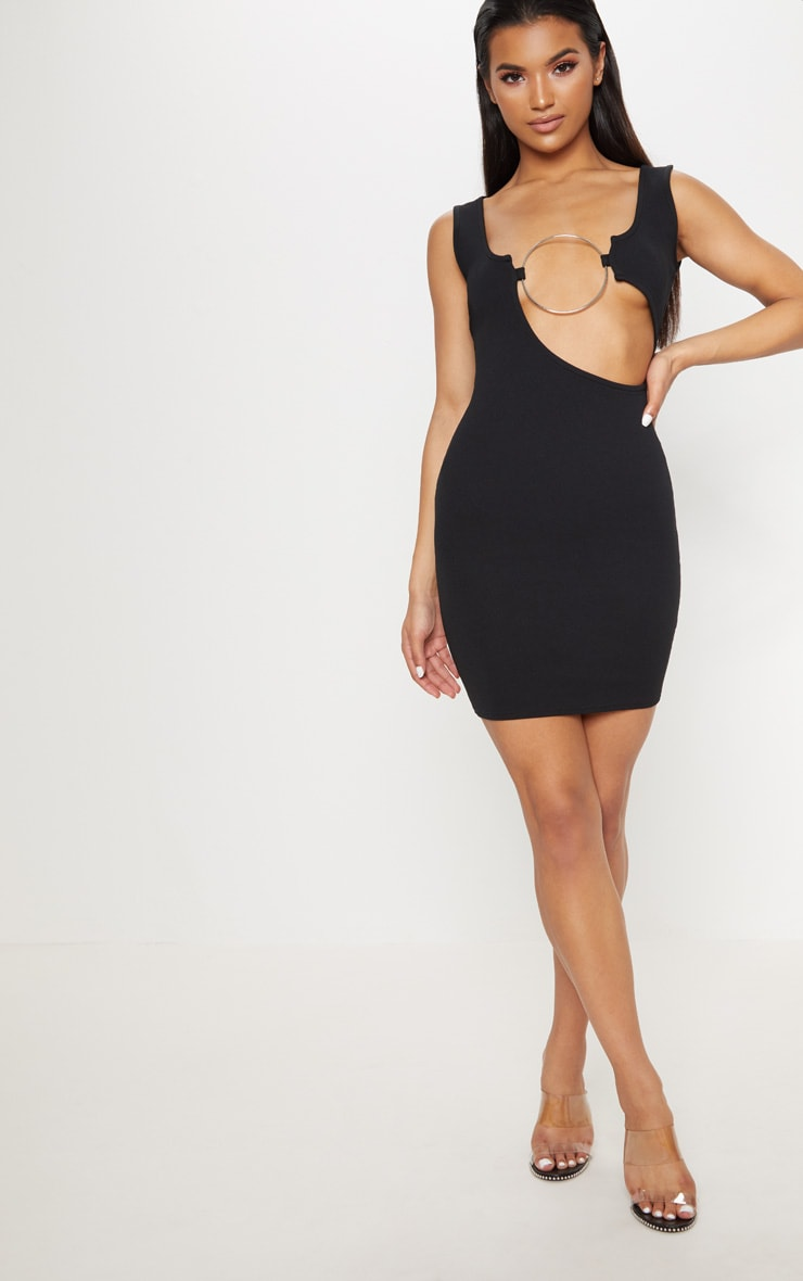 Black Sleeveless Cut Out Ring Detail Bodycon Dress 4
