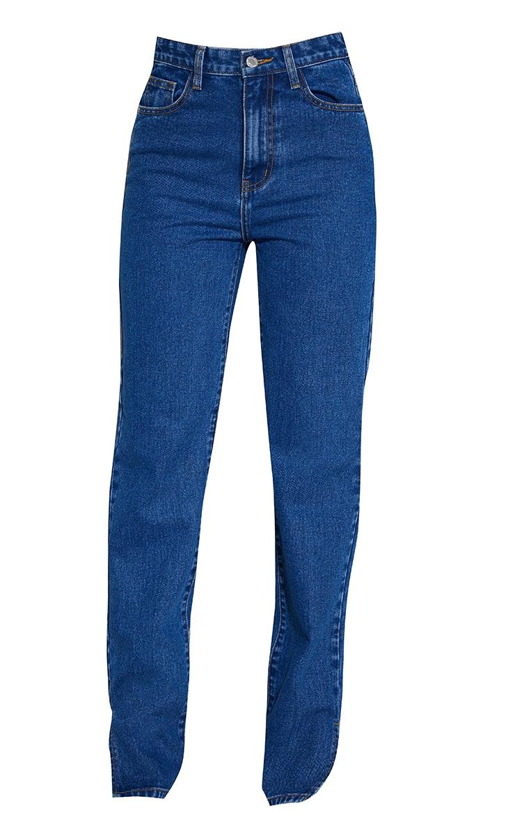 Mid Blue Wash Ripped Back Split Hem Jeans 5