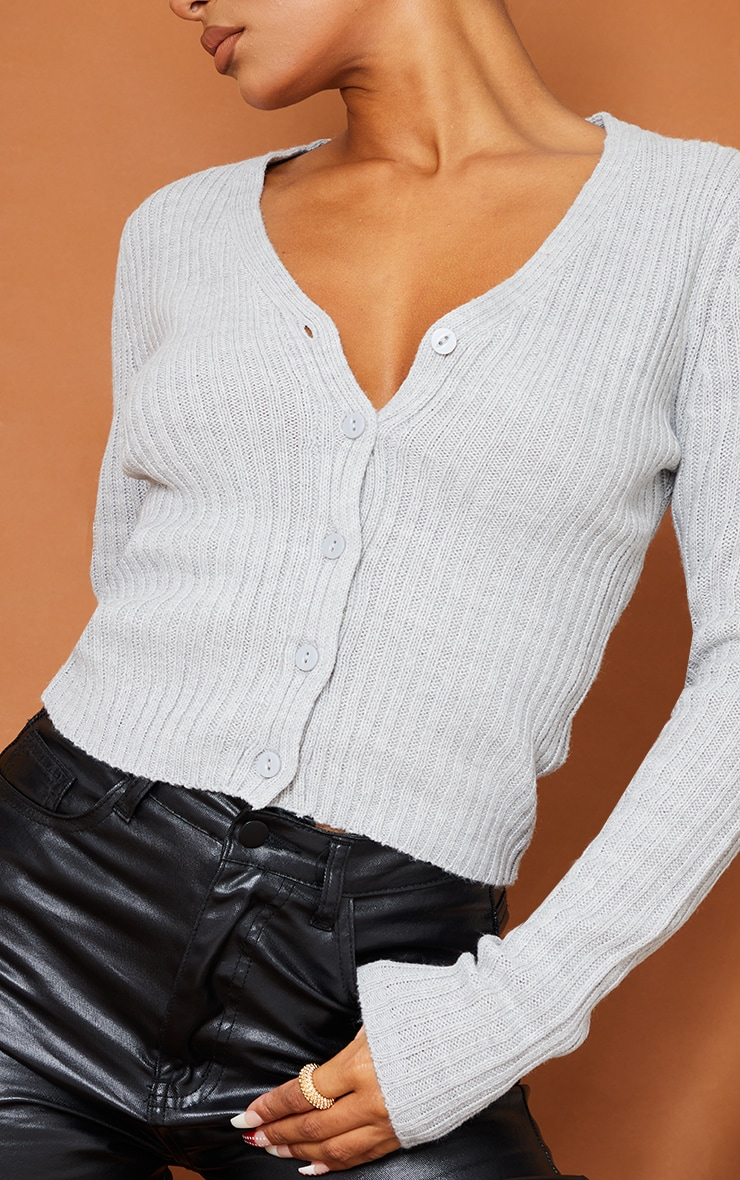 Light Grey Button Front Cardigan 4