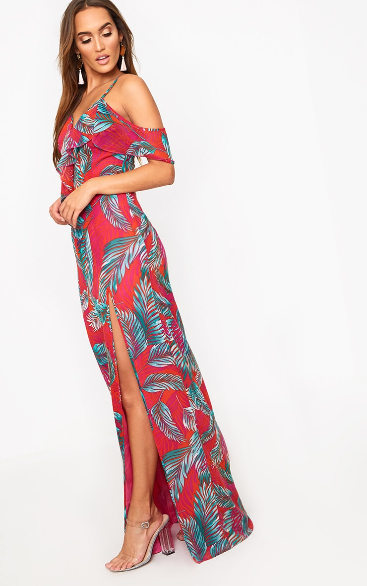 Hot Pink Asymmetric Frill Sleeve Maxi Dress 2