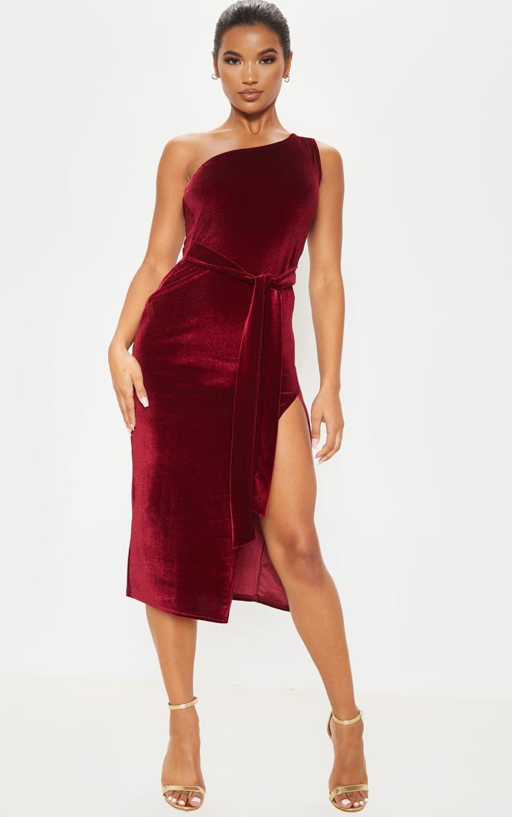 Burgundy Velvet One Shoulder Tie Waist Midi Dress 1