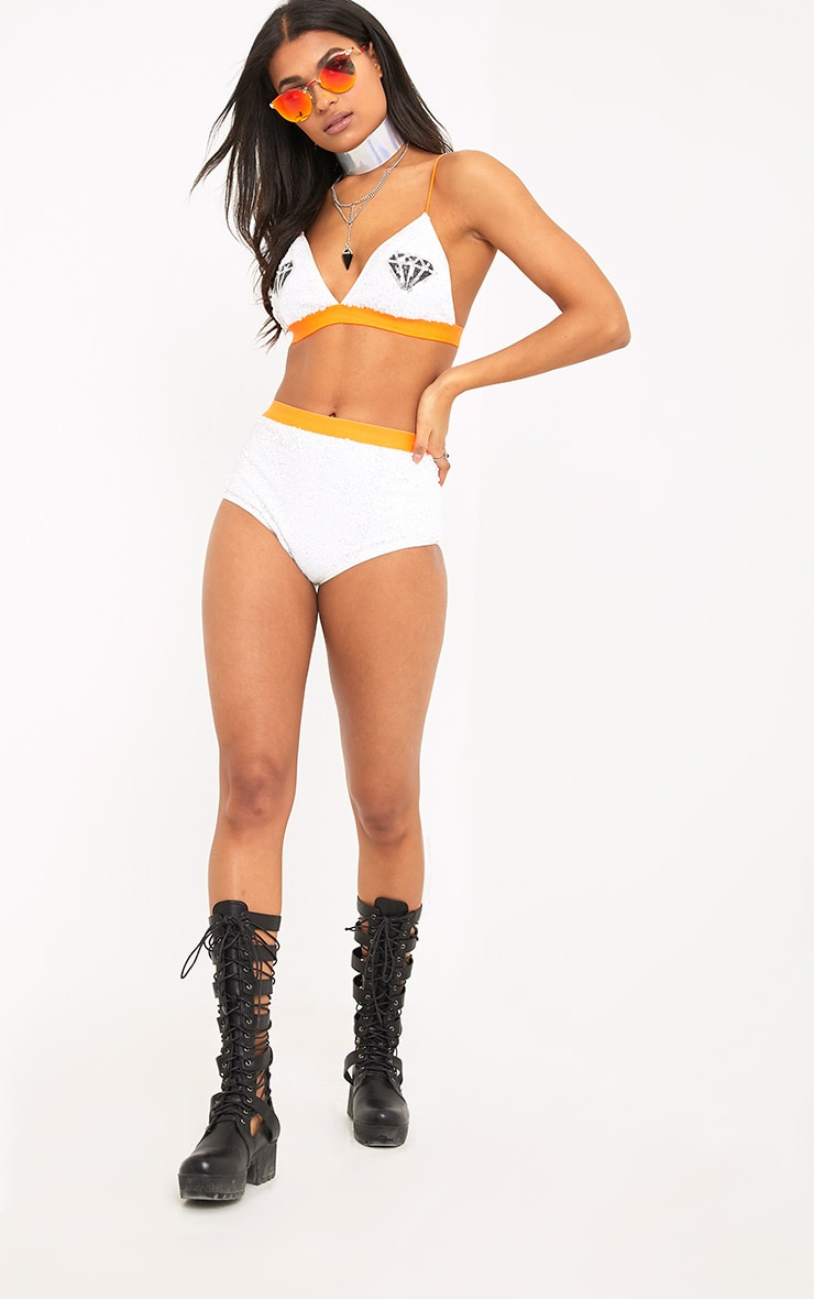 Carliyn White Sequin Contrast Trim Hot Pants 4