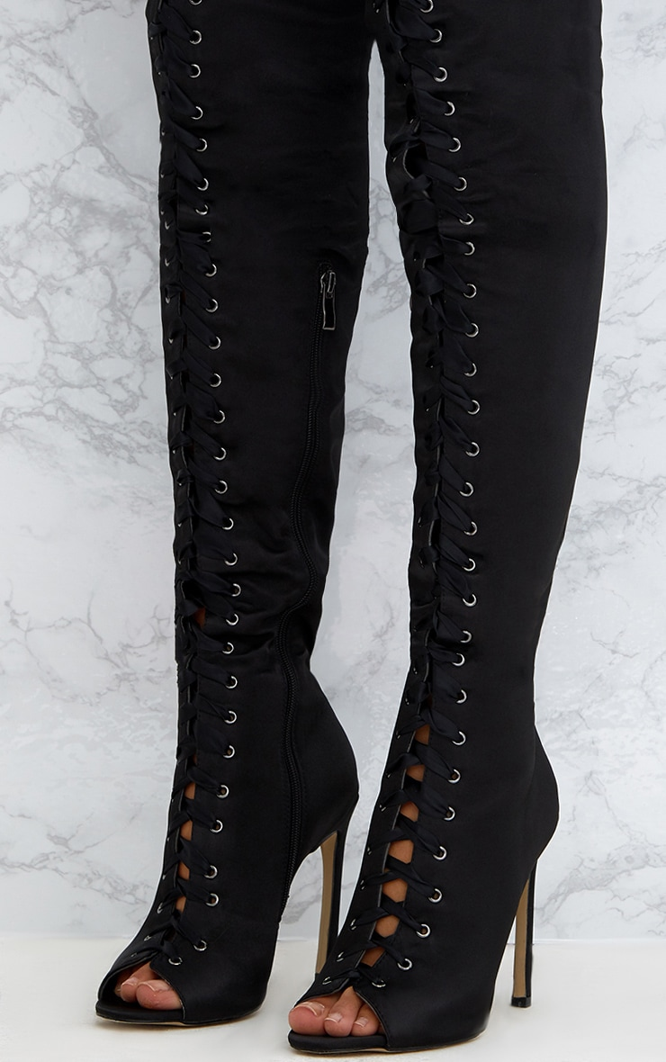 Black Satin Thigh High Lace Up Heeled Boots 5