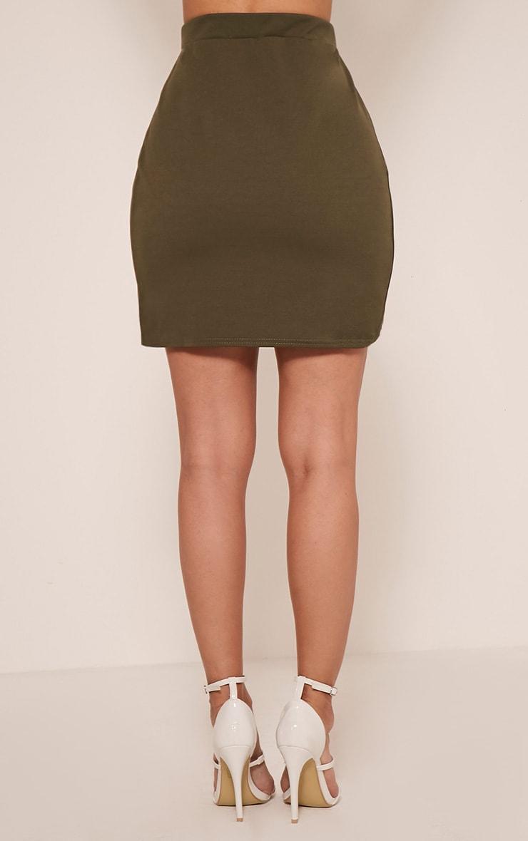 Marcella Khaki Asymmetric Wrap Mini Skirt 5